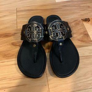 Tory Burch black leather Amanda sandals. 7.5